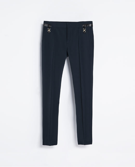 Jodhpurs - length: standard; pattern: plain; waist detail: embellishment at waist/feature waistband; pocket detail: pockets at the sides; waist: mid/regular rise; predominant colour: navy; occasions: casual, evening, work, creative work; fibres: polyester/polyamide - stretch; texture group: jersey - clingy; fit: skinny/tight leg; pattern type: fabric; style: standard; season: s/s 2014