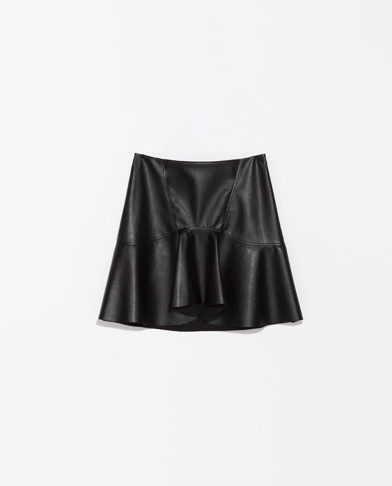 Frilly Faux Leather Skirt - length: mid thigh; pattern: plain; fit: loose/voluminous; waist: high rise; predominant colour: black; occasions: casual, evening, creative work; style: fit & flare; fibres: polyester/polyamide - 100%; texture group: leather; pattern type: fabric; season: s/s 2014