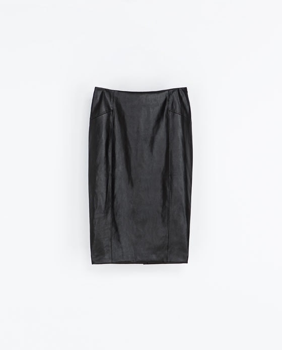 Synthetic Leather Pencil Skirt - length: below the knee; pattern: plain; style: pencil; fit: tailored/fitted; waist: high rise; predominant colour: black; occasions: casual, evening, occasion, creative work; fibres: polyester/polyamide - 100%; texture group: leather; pattern type: fabric; season: s/s 2014