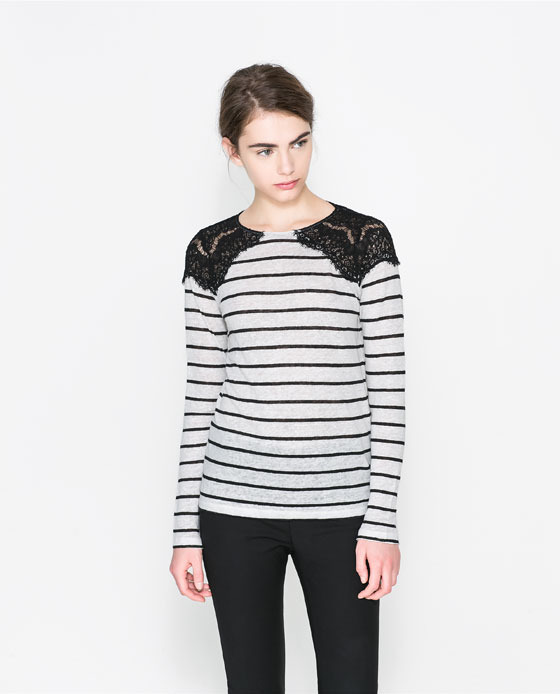 T Shirt With Lace Detail - neckline: round neck; pattern: horizontal stripes; shoulder detail: contrast pattern/fabric at shoulder; back detail: contrast pattern/fabric at back; secondary colour: light grey; predominant colour: black; occasions: casual, evening, creative work; length: standard; style: top; fibres: linen - 100%; fit: body skimming; sleeve length: long sleeve; sleeve style: standard; pattern type: fabric; pattern size: standard; texture group: jersey - stretchy/drapey; embellishment: lace; trends: lace; season: s/s 2014