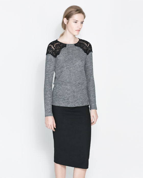 T Shirt With Lace Detail - neckline: round neck; pattern: plain; back detail: contrast pattern/fabric at back; predominant colour: mid grey; secondary colour: black; occasions: casual, evening, work, creative work; length: standard; style: top; fibres: linen - 100%; fit: body skimming; sleeve length: long sleeve; sleeve style: standard; pattern type: fabric; texture group: jersey - stretchy/drapey; embellishment: lace; trends: lace; season: s/s 2014