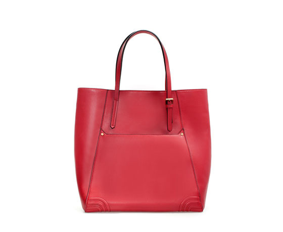 Shopper With Pocket - predominant colour: true red; occasions: casual, work, holiday, creative work; type of pattern: standard; style: tote; length: shoulder (tucks under arm); size: standard; material: faux leather; pattern: plain; finish: plain; embellishment: buckles; trends: hot brights; season: s/s 2014