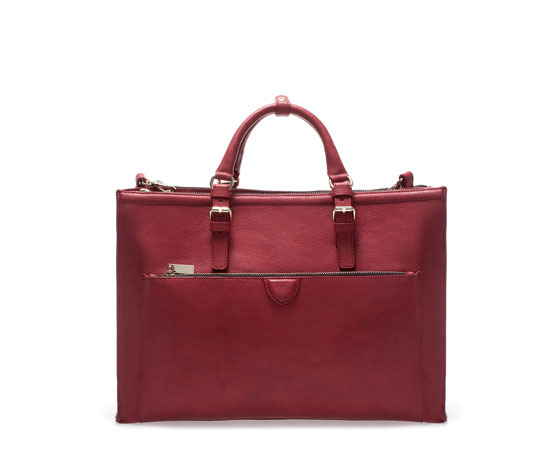 Citybag With Zips - predominant colour: true red; occasions: casual, work, creative work; type of pattern: standard; style: tote; length: handle; size: standard; material: faux leather; pattern: plain; finish: plain; embellishment: buckles; trends: hot brights; season: s/s 2014