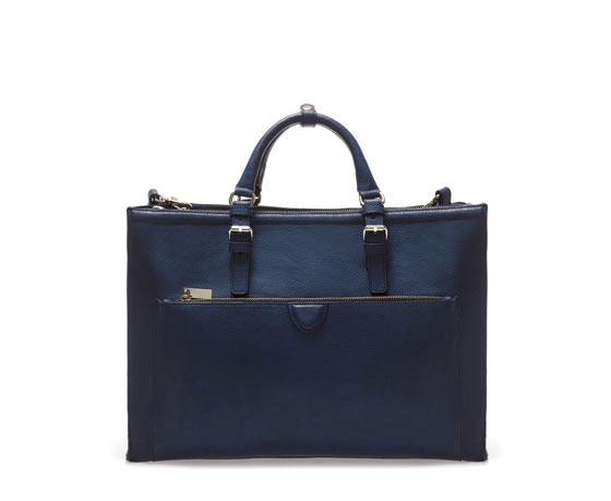 Citybag With Zips - predominant colour: navy; occasions: casual, work, creative work; type of pattern: standard; style: tote; length: handle; size: standard; material: faux leather; embellishment: zips; pattern: plain; finish: plain; season: s/s 2014