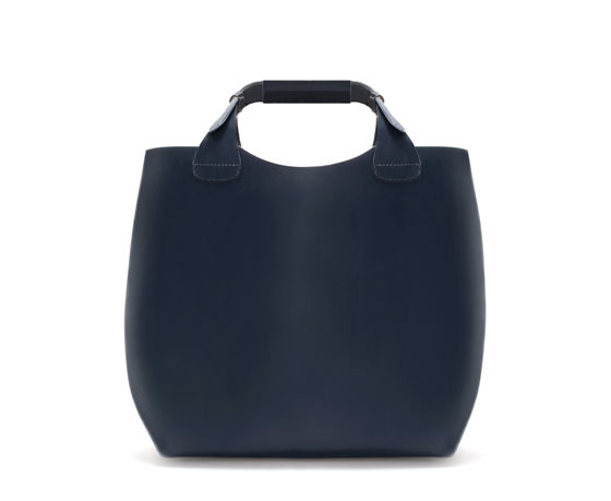 Leather Shopper With Laminated Interior - predominant colour: navy; occasions: casual, work, creative work; type of pattern: standard; style: tote; length: handle; size: oversized; material: leather; pattern: plain; finish: plain; season: s/s 2014