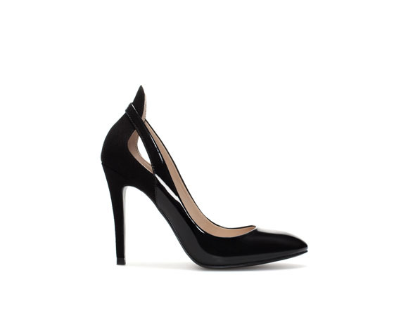 Combined High Heel Court Shoe - predominant colour: black; occasions: evening, work, occasion, creative work; material: faux leather; heel: stiletto; toe: round toe; style: courts; finish: patent; pattern: plain; heel height: very high; season: s/s 2014