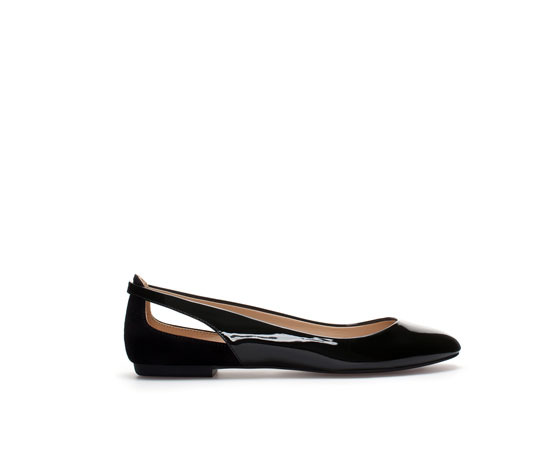 Combined Ballerina Flats - predominant colour: black; occasions: casual, work, creative work; material: faux leather; heel height: flat; toe: round toe; style: ballerinas / pumps; finish: patent; pattern: plain; season: s/s 2014