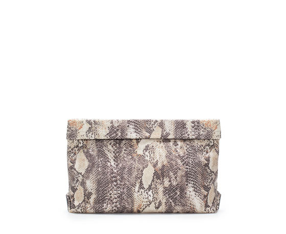 Snake Print Clutch - occasions: casual, evening, occasion, holiday, creative work; predominant colour: multicoloured; type of pattern: standard; style: clutch; length: hand carry; size: standard; material: fabric; pattern: animal print; finish: plain; trends: art-party prints; season: s/s 2014; multicoloured: multicoloured