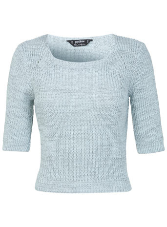 Petites Mint Fisherman Jumper - neckline: round neck; pattern: plain; length: cropped; style: standard; predominant colour: pale blue; occasions: casual, creative work; fibres: acrylic - 100%; fit: slim fit; sleeve length: short sleeve; sleeve style: standard; texture group: knits/crochet; pattern type: knitted - other; trends: sorbet shades; season: s/s 2014