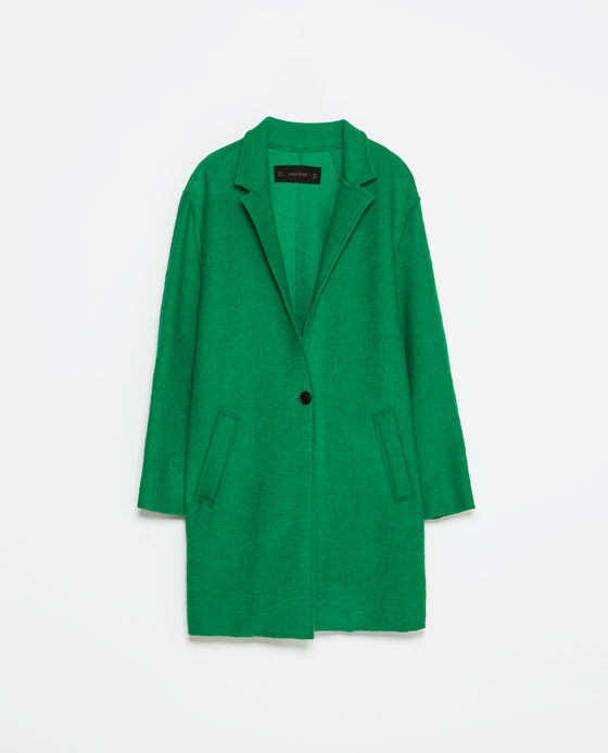 Wool Coat - pattern: plain; style: single breasted; collar: standard lapel/rever collar; length: mid thigh; predominant colour: emerald green; occasions: casual, work, creative work; fit: straight cut (boxy); fibres: wool - mix; sleeve length: long sleeve; sleeve style: standard; collar break: low/open; pattern type: fabric; texture group: woven bulky/heavy; season: s/s 2014