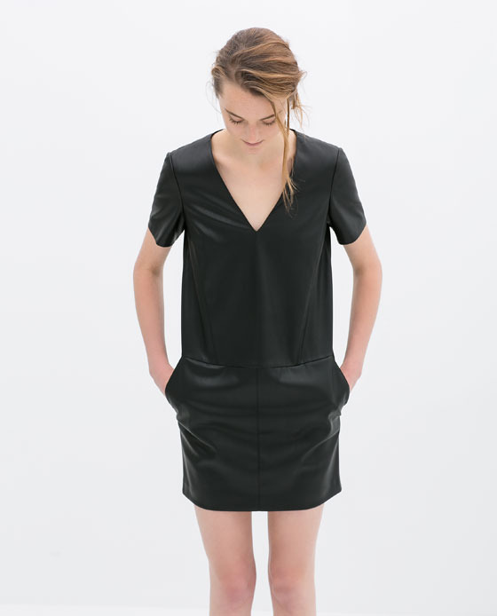 Faux Leather V Neck Dress - style: shift; length: mid thigh; neckline: v-neck; pattern: plain; predominant colour: black; occasions: evening, creative work; fit: straight cut; fibres: polyester/polyamide - 100%; sleeve length: short sleeve; sleeve style: standard; texture group: leather; pattern type: fabric; season: s/s 2014