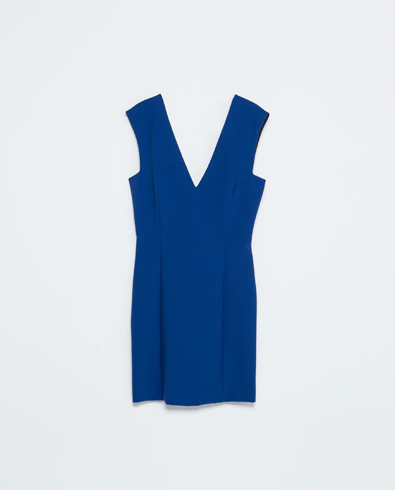 Tight Fit V Neck Dress - style: shift; length: mid thigh; neckline: low v-neck; fit: tailored/fitted; pattern: plain; sleeve style: sleeveless; predominant colour: royal blue; occasions: evening, occasion; fibres: polyester/polyamide - stretch; sleeve length: sleeveless; pattern type: fabric; texture group: other - light to midweight; season: s/s 2014