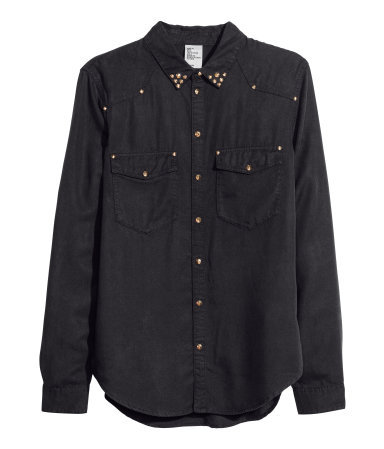 Denim Shirt - neckline: shirt collar/peter pan/zip with opening; pattern: plain; style: shirt; predominant colour: black; occasions: casual, creative work; length: standard; fibres: viscose/rayon - 100%; fit: straight cut; sleeve length: long sleeve; sleeve style: standard; texture group: denim; pattern type: fabric; embellishment: studs; season: s/s 2014