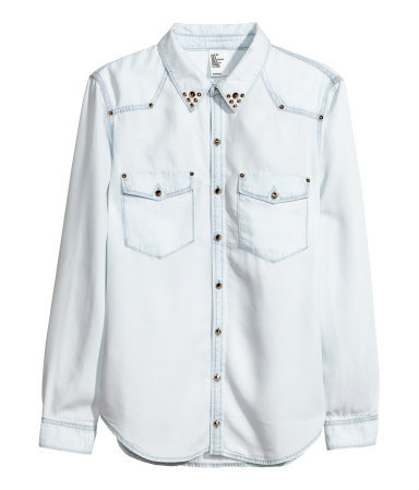 Denim Shirt - neckline: shirt collar/peter pan/zip with opening; pattern: plain; style: shirt; predominant colour: pale blue; occasions: casual, creative work; length: standard; fibres: viscose/rayon - 100%; fit: straight cut; sleeve length: long sleeve; sleeve style: standard; texture group: denim; pattern type: fabric; embellishment: studs; season: s/s 2014
