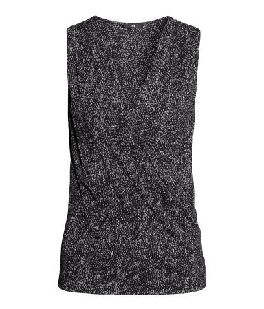 Draped Top - neckline: low v-neck; sleeve style: sleeveless; style: wrap/faux wrap; predominant colour: charcoal; occasions: casual, evening, work, creative work; length: standard; fibres: viscose/rayon - 100%; fit: body skimming; sleeve length: sleeveless; pattern type: fabric; pattern: patterned/print; texture group: jersey - stretchy/drapey; season: s/s 2014