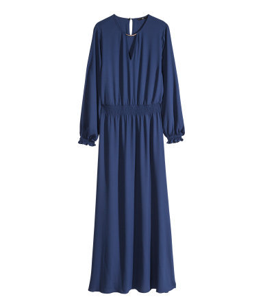 Long Dress - fit: fitted at waist; pattern: plain; style: maxi dress; waist detail: elasticated waist; predominant colour: navy; occasions: casual, evening, occasion; length: floor length; neckline: peep hole neckline; fibres: polyester/polyamide - 100%; sleeve length: long sleeve; sleeve style: standard; pattern type: fabric; texture group: other - light to midweight; season: s/s 2014