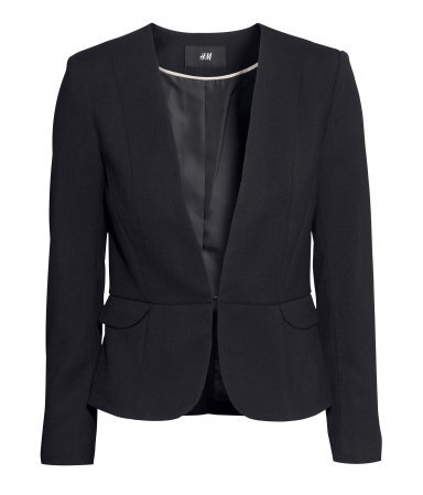 Figure Fit Jacket - pattern: plain; style: single breasted blazer; collar: round collar/collarless; predominant colour: black; occasions: casual, evening, work, occasion, creative work; length: standard; fit: tailored/fitted; sleeve length: long sleeve; sleeve style: standard; collar break: low/open; pattern type: fabric; texture group: woven light midweight; fibres: viscose/rayon - mix; season: s/s 2014