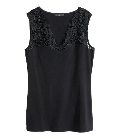 Lace Top - neckline: low v-neck; sleeve style: sleeveless; predominant colour: black; occasions: evening, work, occasion, creative work; length: standard; style: top; fibres: cotton - stretch; fit: body skimming; sleeve length: sleeveless; texture group: lace; pattern type: fabric; pattern: patterned/print; embellishment: lace; season: s/s 2014