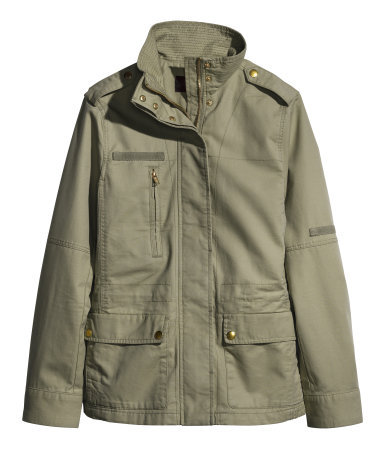 Cargo Jacket - pattern: plain; collar: funnel; length: below the bottom; predominant colour: nude; occasions: casual, creative work; fit: straight cut (boxy); fibres: cotton - 100%; sleeve length: long sleeve; sleeve style: standard; texture group: cotton feel fabrics; collar break: high/illusion of break when open; pattern type: fabric; style: single breasted military jacket; season: s/s 2014
