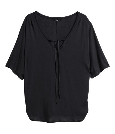 Jersey Top - neckline: low v-neck; sleeve style: dolman/batwing; pattern: plain; predominant colour: black; occasions: casual, work, creative work; length: standard; style: top; fibres: viscose/rayon - 100%; fit: loose; sleeve length: short sleeve; pattern type: fabric; texture group: jersey - stretchy/drapey; season: s/s 2014