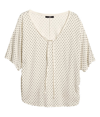 Jersey Top - neckline: low v-neck; sleeve style: dolman/batwing; pattern: polka dot; predominant colour: ivory/cream; occasions: casual, creative work; length: standard; style: top; fibres: viscose/rayon - 100%; fit: loose; sleeve length: short sleeve; pattern type: fabric; texture group: jersey - stretchy/drapey; season: s/s 2014