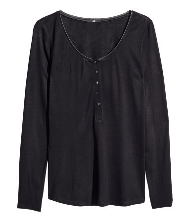 Jersey Top - pattern: plain; bust detail: buttons at bust (in middle at breastbone)/zip detail at bust; predominant colour: black; occasions: casual, creative work; length: standard; style: top; neckline: scoop; fibres: viscose/rayon - 100%; fit: loose; sleeve length: long sleeve; sleeve style: standard; pattern type: fabric; texture group: jersey - stretchy/drapey; season: s/s 2014