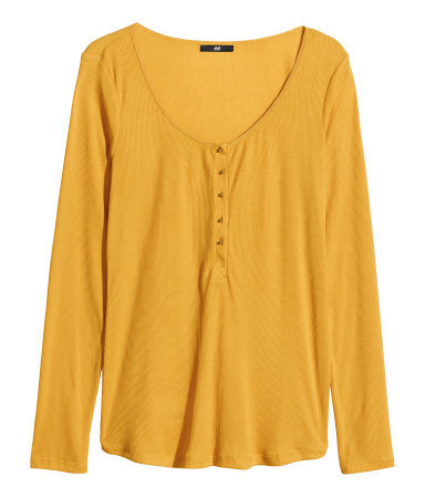 Jersey Top - pattern: plain; bust detail: buttons at bust (in middle at breastbone)/zip detail at bust; predominant colour: mustard; occasions: casual, creative work; length: standard; style: top; neckline: scoop; fit: loose; sleeve length: long sleeve; sleeve style: standard; pattern type: fabric; texture group: jersey - stretchy/drapey; fibres: viscose/rayon - mix; season: s/s 2014