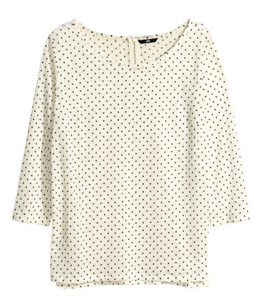 Linen Top - neckline: round neck; style: t-shirt; pattern: polka dot; predominant colour: ivory/cream; occasions: casual, work, creative work; length: standard; fibres: linen - 100%; fit: loose; sleeve length: half sleeve; sleeve style: standard; texture group: linen; pattern type: fabric; season: s/s 2014