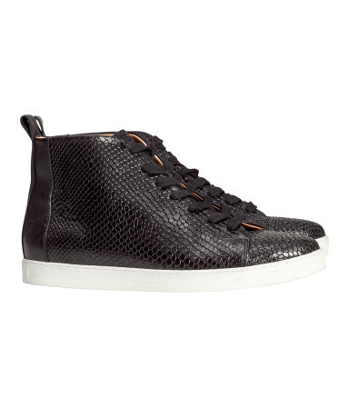 Leather Sneakers - secondary colour: white; predominant colour: black; occasions: casual, creative work; material: leather; heel height: flat; heel: standard; toe: round toe; boot length: ankle boot; style: high top; finish: plain; pattern: plain; season: s/s 2014