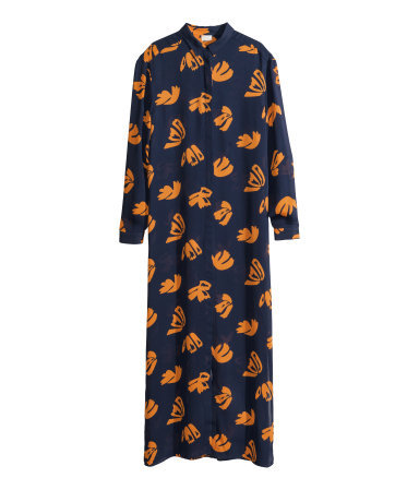 Long Shirt Dress - style: shirt; neckline: shirt collar/peter pan/zip with opening; fit: loose; length: ankle length; predominant colour: navy; secondary colour: mustard; occasions: casual, evening, holiday, creative work; fibres: polyester/polyamide - 100%; sleeve length: long sleeve; sleeve style: standard; texture group: cotton feel fabrics; pattern type: fabric; pattern: patterned/print; trends: art-party prints; season: s/s 2014