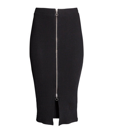 Pencil Skirt - length: below the knee; pattern: plain; style: pencil; fit: tight; waist: high rise; predominant colour: black; occasions: evening, creative work; fibres: viscose/rayon - stretch; texture group: jersey - clingy; pattern type: fabric; season: s/s 2014