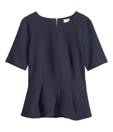 Peplum Top - neckline: round neck; pattern: plain; waist detail: peplum waist detail; predominant colour: navy; occasions: casual, evening, work, creative work; length: standard; style: top; fibres: polyester/polyamide - stretch; fit: tailored/fitted; sleeve length: short sleeve; sleeve style: standard; pattern type: fabric; texture group: brocade/jacquard; season: s/s 2014