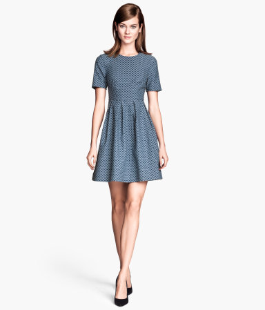 Jacquard Weave Dress - length: mid thigh; predominant colour: denim; occasions: evening, occasion, creative work; fit: fitted at waist & bust; style: fit & flare; fibres: cotton - stretch; neckline: crew; hip detail: subtle/flattering hip detail; sleeve length: short sleeve; sleeve style: standard; pattern type: fabric; pattern: patterned/print; texture group: brocade/jacquard; season: s/s 2014
