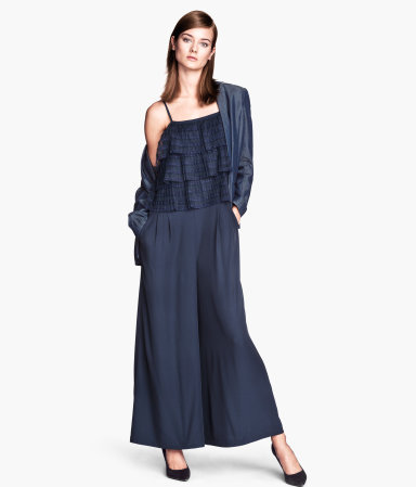 Jumpsuit - sleeve style: spaghetti straps; fit: loose; pattern: plain; predominant colour: navy; occasions: evening; length: ankle length; fibres: polyester/polyamide - stretch; sleeve length: sleeveless; texture group: silky - light; style: jumpsuit; neckline: low square neck; bust detail: bulky details at bust; pattern type: fabric; season: s/s 2014; wardrobe: event