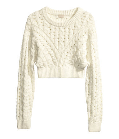 Cable Knit Jumper - length: cropped; style: standard; pattern: cable knit; predominant colour: ivory/cream; occasions: casual, creative work; fibres: cotton - mix; fit: slim fit; neckline: crew; sleeve length: long sleeve; sleeve style: standard; texture group: knits/crochet; pattern type: fabric; season: s/s 2014