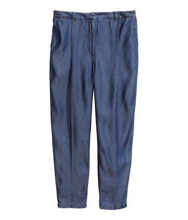 Lyocell Trousers - pattern: plain; style: peg leg; pocket detail: pockets at the sides; waist: mid/regular rise; predominant colour: navy; occasions: casual, evening, work, creative work; length: ankle length; fit: tapered; pattern type: fabric; texture group: woven light midweight; season: s/s 2014