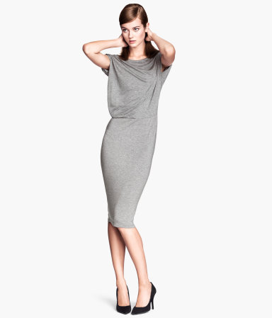 Draped Dress - style: shift; length: below the knee; neckline: cowl/draped neck; pattern: plain; predominant colour: light grey; occasions: casual, evening, work, occasion, creative work; fit: body skimming; fibres: viscose/rayon - stretch; sleeve length: short sleeve; sleeve style: standard; pattern type: fabric; texture group: jersey - stretchy/drapey; season: s/s 2014