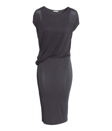 Draped Dress - style: shift; neckline: round neck; pattern: plain; predominant colour: black; occasions: evening, creative work; length: on the knee; fit: body skimming; fibres: viscose/rayon - stretch; sleeve length: short sleeve; sleeve style: standard; pattern type: fabric; texture group: jersey - stretchy/drapey; season: s/s 2014