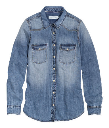 Denim Shirt - neckline: shirt collar/peter pan/zip with opening; pattern: plain; style: shirt; predominant colour: denim; occasions: casual, creative work; length: standard; fibres: cotton - 100%; fit: body skimming; sleeve length: long sleeve; sleeve style: standard; texture group: denim; pattern type: fabric; season: s/s 2014