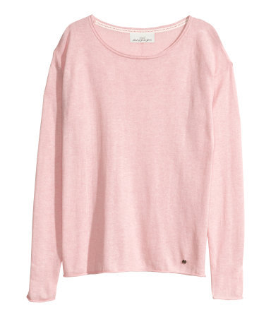 Fine Knit Jumper - neckline: round neck; pattern: plain; style: standard; predominant colour: blush; occasions: casual, creative work; length: standard; fibres: cotton - mix; fit: standard fit; sleeve length: long sleeve; sleeve style: standard; texture group: knits/crochet; pattern type: fabric; trends: sorbet shades; season: s/s 2014