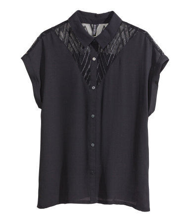 Chiffon Blouse - neckline: shirt collar/peter pan/zip with opening; sleeve style: dolman/batwing; pattern: plain; style: blouse; predominant colour: black; occasions: evening, work, creative work; length: standard; fibres: polyester/polyamide - 100%; fit: loose; sleeve length: short sleeve; texture group: sheer fabrics/chiffon/organza etc.; pattern type: fabric; season: s/s 2014