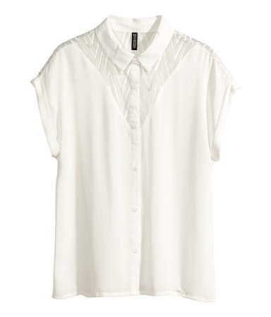 Chiffon Blouse - neckline: shirt collar/peter pan/zip with opening; sleeve style: dolman/batwing; pattern: plain; style: blouse; predominant colour: white; occasions: casual, evening, work, creative work; length: standard; fibres: polyester/polyamide - 100%; fit: loose; sleeve length: short sleeve; texture group: sheer fabrics/chiffon/organza etc.; pattern type: fabric; season: s/s 2014