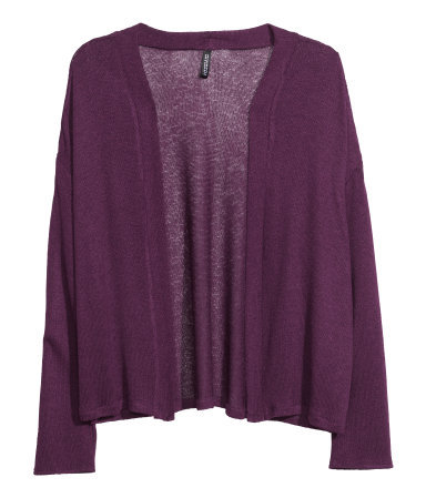 Fine Knit Cardigan - pattern: plain; neckline: collarless open; style: open front; predominant colour: purple; occasions: casual, work, creative work; length: standard; fibres: polyester/polyamide - stretch; fit: loose; sleeve length: long sleeve; sleeve style: standard; texture group: knits/crochet; pattern type: fabric; season: s/s 2014