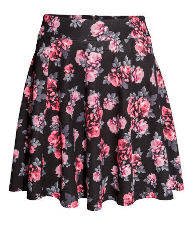 Circular Skirt - length: mid thigh; fit: loose/voluminous; waist: high rise; secondary colour: pink; predominant colour: black; occasions: casual, evening, holiday, creative work; style: a-line; fibres: viscose/rayon - stretch; hip detail: subtle/flattering hip detail; pattern type: fabric; pattern: florals; texture group: jersey - stretchy/drapey; trends: furious florals; season: s/s 2014; pattern size: standard (bottom)