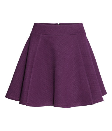 Circular Skirt - length: mid thigh; pattern: plain; fit: loose/voluminous; waist: mid/regular rise; predominant colour: aubergine; occasions: casual, holiday, creative work; style: fit & flare; fibres: polyester/polyamide - mix; pattern type: fabric; texture group: woven light midweight; season: s/s 2014