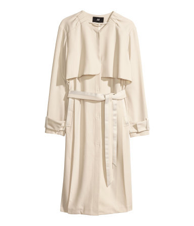 Trenchcoat - pattern: plain; collar: round collar/collarless; style: mac; length: on the knee; predominant colour: ivory/cream; occasions: casual, evening, work, occasion, creative work; fit: straight cut (boxy); fibres: polyester/polyamide - stretch; waist detail: belted waist/tie at waist/drawstring; back detail: back vent/flap at back; sleeve length: long sleeve; sleeve style: standard; collar break: high; pattern type: fabric; texture group: woven bulky/heavy; season: s/s 2014