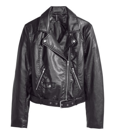 Biker Jacket - pattern: plain; style: biker; collar: asymmetric biker; fit: slim fit; predominant colour: black; occasions: casual, evening, creative work; length: standard; sleeve length: long sleeve; sleeve style: standard; texture group: leather; collar break: medium; pattern type: fabric; fibres: pvc/polyurethene - 100%; season: s/s 2014