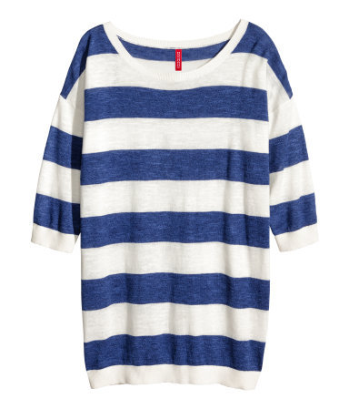 Fine Knit Jumper - neckline: round neck; pattern: horizontal stripes; length: below the bottom; style: standard; secondary colour: white; predominant colour: navy; occasions: casual, work, creative work; fibres: cotton - 100%; fit: loose; sleeve length: half sleeve; sleeve style: standard; texture group: knits/crochet; pattern type: fabric; season: s/s 2014