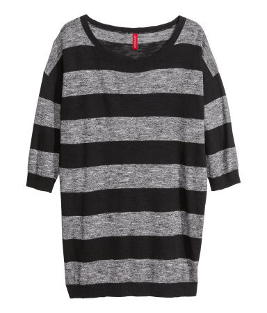 Fine Knit Jumper - neckline: round neck; pattern: horizontal stripes; length: below the bottom; style: standard; secondary colour: mid grey; predominant colour: black; occasions: casual, creative work; fibres: cotton - 100%; fit: loose; sleeve length: half sleeve; sleeve style: standard; texture group: knits/crochet; pattern type: fabric; season: s/s 2014
