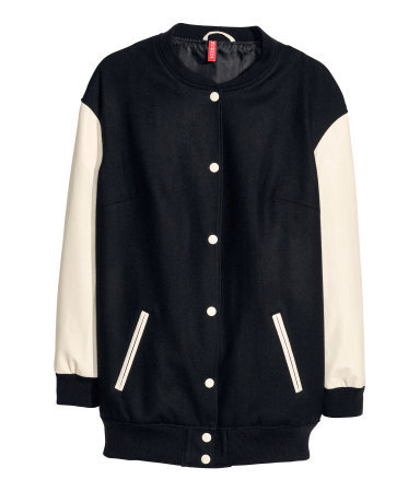 Baseball Jacket - collar: round collar/collarless; fit: loose; length: below the bottom; style: baseball; secondary colour: stone; predominant colour: black; occasions: casual, creative work; fibres: wool - mix; sleeve length: long sleeve; sleeve style: standard; collar break: high/illusion of break when open; pattern type: fabric; pattern size: standard; pattern: colourblock; texture group: woven light midweight; season: s/s 2014